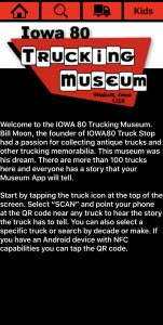 Home Screen of the Iowa 80 Trucking Museum App